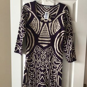 Dresses & Skirts - Purple print sweater dress